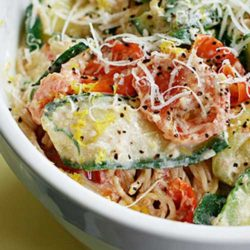 A quick and easy no guilt summer dish. This Pasta with Zucchini Tomatoes and Creamy Lemon Yogurt Sauce may just become your family's next favorite.