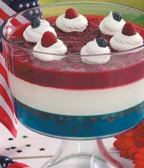 "Recipe for Red White n Blue Salad - Our striking ""flag"" salad drew plenty of attention at our Independence Day party. The shimmering stripes are formed with distinctive gelatin layers. It makes you want to salute before spooning some up!"