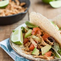 Recipe for Easy Shredded Chicken Tacos - These tacos are packed with flavour, healthy, and best of all ready in less than 30 minutes.