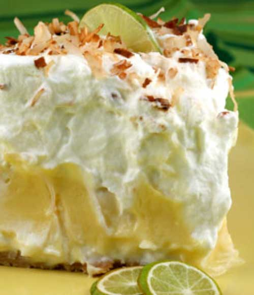 Recipe for Florida Pie - This is essentially a traditional key lime pie lined with a layer of coconut cream. It is brilliant because that layer of sweet creaminess really balances out the tartness of the Key lime filling.