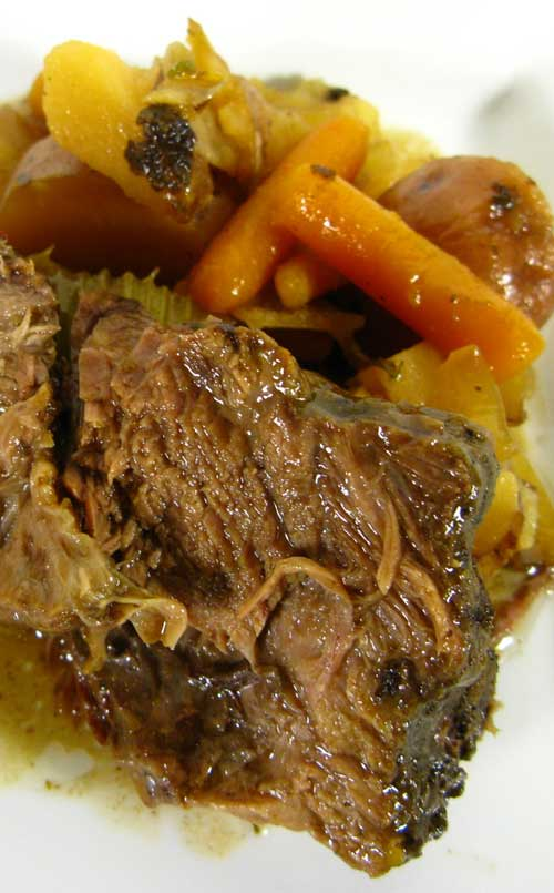 Recipe for The Easiest Slow-Cooker Pot Roast EVER - This recipe is hands down the best one I've ever used, and it's also the easiest and least expensive. You can prepare this dish in about 10 minutes first thing in the morning and come home from work to a house FILLED with the homey scent of pot roast.