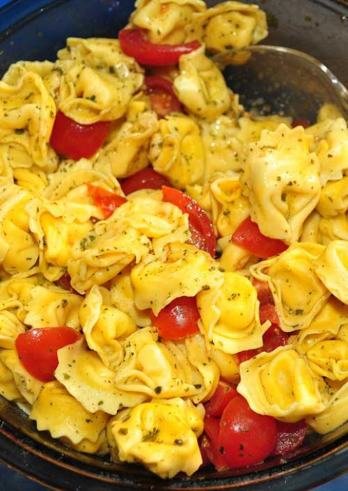 Recipe for Tortellini Antipasto Salad - Refrigerated cheese tortellini gives you a jump start on serving this easy antipasto pasta salad to a soon-to-be adoring crowd.
