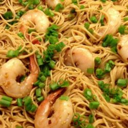 Recipe for Sesame Asian Noodles - I added shrimp but you can omit it and then it's vegan. This is good hot or cold, dinner or a side dish with a picnic