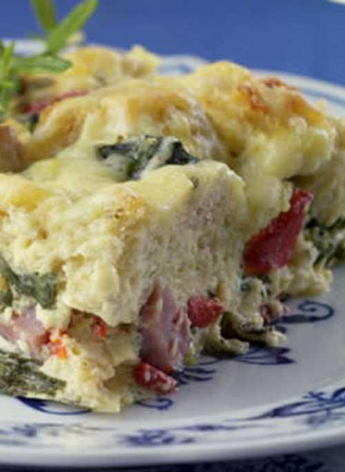 This Ham and Cheese Breakfast Casserole is a healthy update of a traditionally rich ham-and-cheese breakfast strata has plenty of flavor, with half the calories and one-third the fat of the original.
