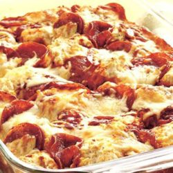 You'll make quick work out of dinner with this 4-Ingredient Pizza Bake that's in the oven in less than 15 minutes.