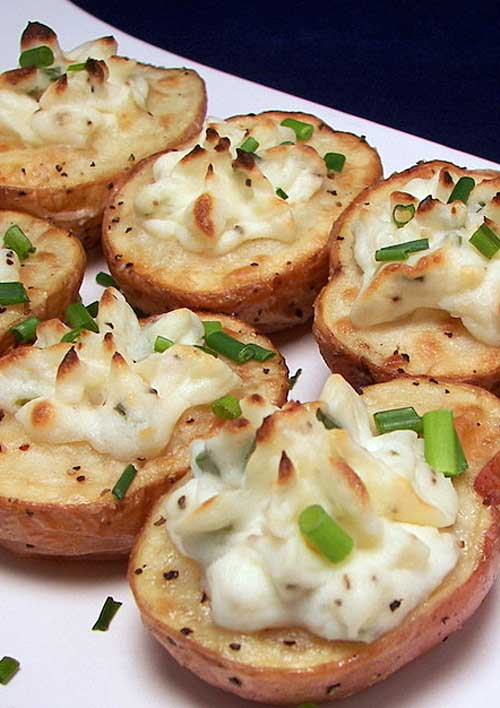 Recipe for Twice-Baked Potato Bites - Served with additional chives on top for flare, these would be a fun make-ahead appetizer or a tantalizing side for a variety of main dishes.