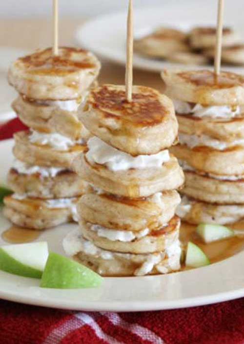 Recipe for Mini Apple Pie Pancake Kabobs - Impress your breakfast guests with quick and easy apple pancakes on a stick. For a little extra flair, alternate pancakes with apple slices.