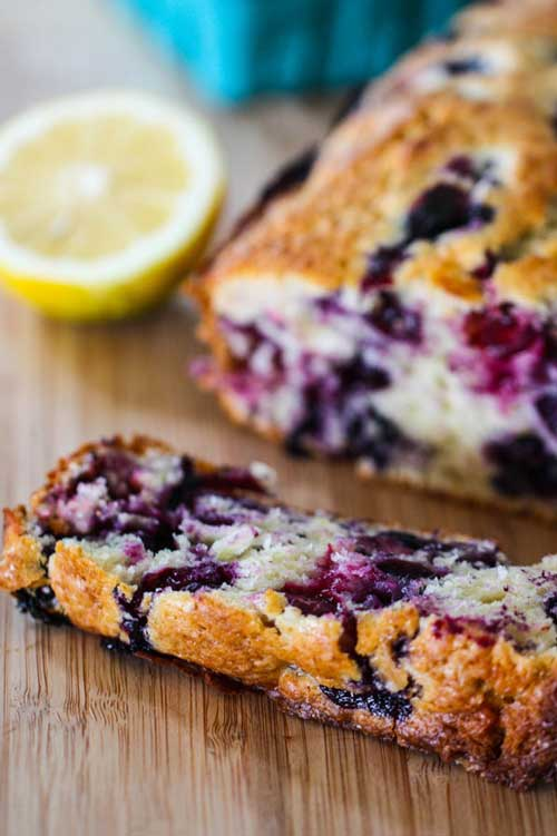 Recipe for Lemon Blueberry Muffin Bread - This sweet breakfast bread tastes just like a giant blueberry muffin.
