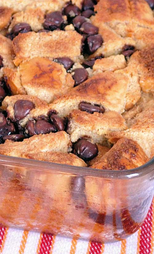 Recipe for Chocolate Chip French Toast Casserole - It's chocolate chips for breakfast, and if you can't eat chocolate chips for breakfast at this time of year, then when else can you?