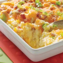 This Baked Potato Casserole has creamy potatoes, cheddar cheese and turkey bacon blended together and baked to perfection. This side dish is sure to put a smile on everyone's face