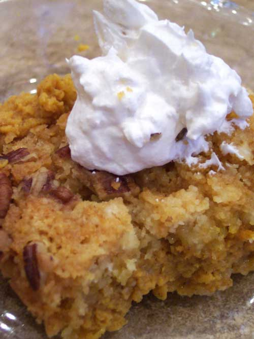 Recipe for Pumpkin Cobbler - I love baking this time of year. The smells and the oven warming up the house. I got this recipe from a relative and it always gets gobbled up!