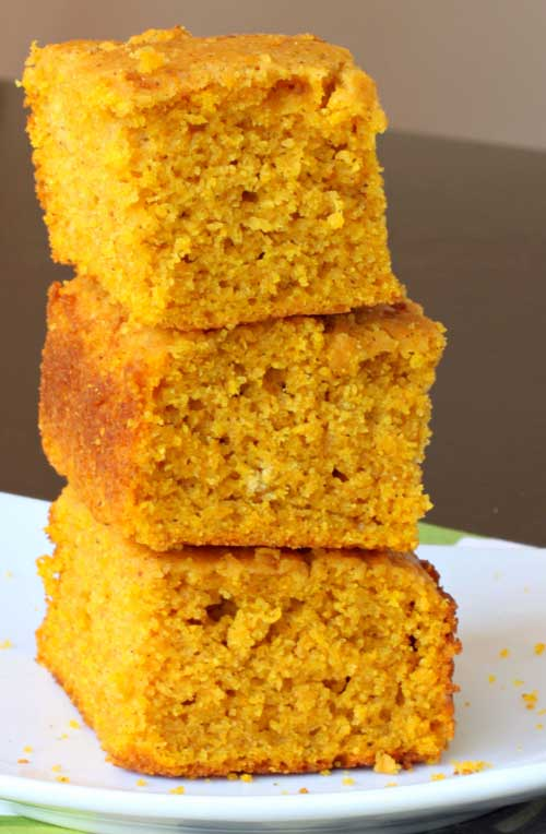 Recipe for Pumpkin Cornbread - The cornbread isn't overly pumpkin-y; it has just the right amount of pumpkin flavor hanging out in the background.