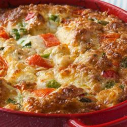 Recipe for Southern Veggie Brunch Casserole - Our family always has this breakfast dish for dinner, and it's fondly called 'brinner' by our two children.