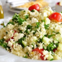 This Mediterranean Couscous Salad with Feta Cheese is a simple, light, and healthy salad. Delicious by itself or as a side with any meal.
