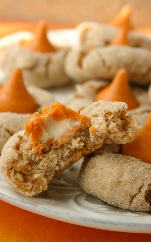 Recipe for Pumpkin Spice Kiss Blossoms - These chewy cinnamon cookies are crazy good and taste like fall. Like October and November-times.