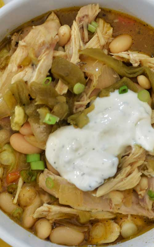 """Recipe for White Bean and Turkey Chili - One of those """"killer"""" recipes that will wow any crowd, all while helping you use up that leftover turkey!"""