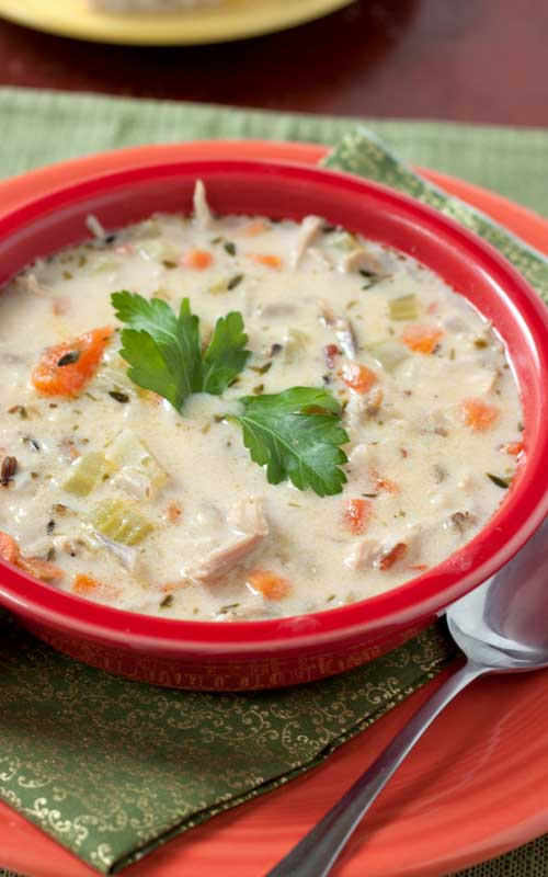 The rice and vegetables make this soup very filling and yet it's low-fat, which is also welcome after eating all that rich food last week.