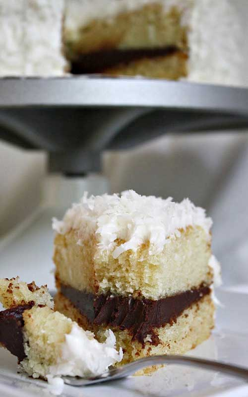 Coconut Layer Cake With Chocolate Ganache Filling Flavorite