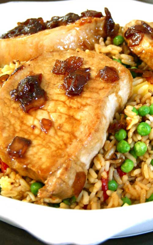 Recipe for Sweet Soy Glazed Pork Chops with Pineapple Fried Rice - It's a great mix of salty and sweet and a delicious Asian-inspired twist on classic pork chops.