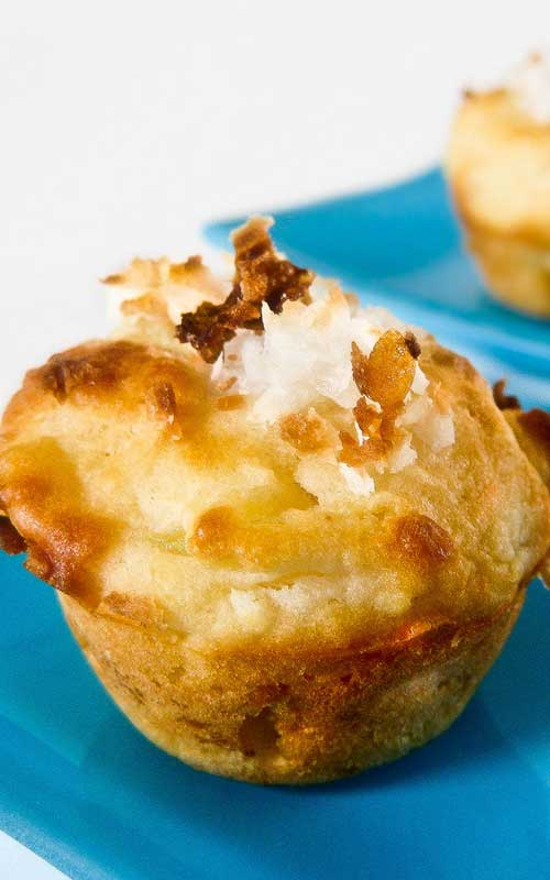 Recipe for Pina Colada Mini Muffins - These little guys are perfect for a quick snack or breakfast when you're running out the door. They'd also be perfect for lunch, if they don't disappear first!