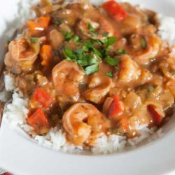 Recipe for Shrimp Etouffee - This Shrimp Etouffee is just the kind of warm and comforting dinner that I want when it's below freezing outside but I can also feel good about eating it since the recipe has been lightened.