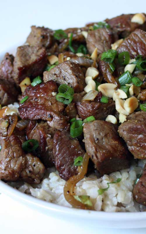 Make this Vietnamese-Style Garlic Beef for dinner tonight, it is beyond delicious…mouth-watering really. So much flavor in this super-simple dish.