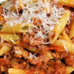 Recipe for Penne with Meat Sauce - Quick-to-grab ingredients make this hearty ground beef and pasta dish super easy. The start-to-finish time: 25 minutes.
