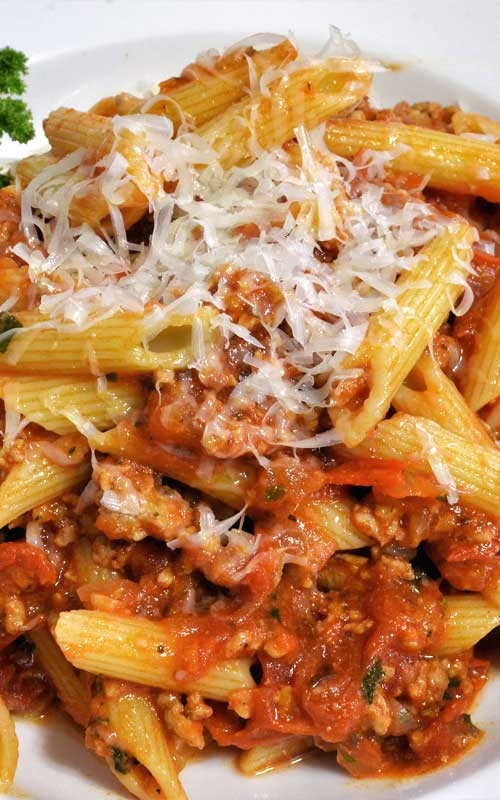 Quick-to-grab ingredients make this hearty Penne with Meat Sauce super easy. The start-to-finish time: 25 minutes.
