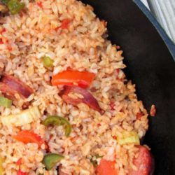 Recipe for Campfire Jambalaya - You can easily prep this a day ahead, pack up all of the ingredients, and assemble it at your campsite (or cookout, or whatever). The result is delicious!