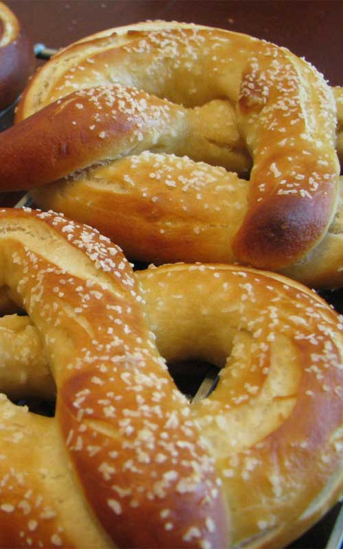 Those big, warm, soft pretzels you can get at the ball park...now in your kitchen care of this recipe for homemade soft pretzels!