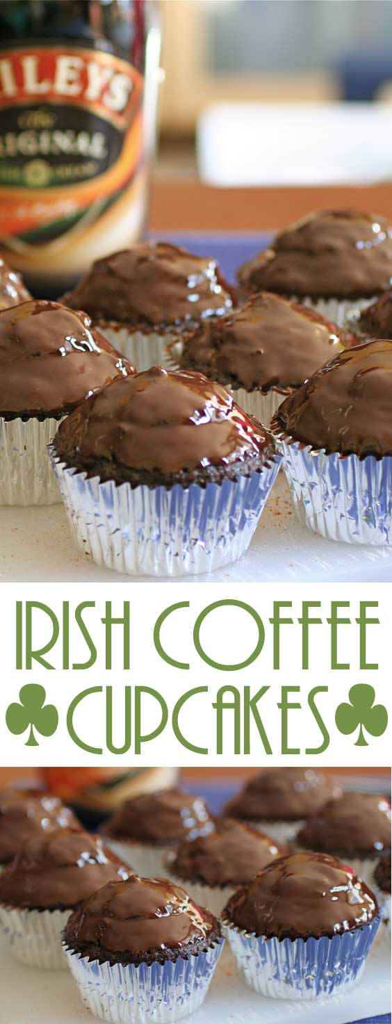 Irish Coffee Cupcakes with Chocolate Ganache