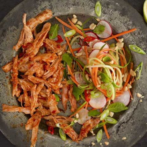 Delicious shredded pork with a Thai flavor you will not be able to stop eating. This Thai Pulled Pork With Asian Slaw has layers of flavor and makes for the perfect easy, no effort Thai feast!