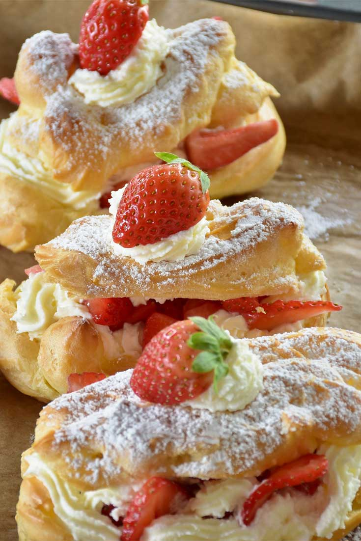Strawberry Cheesecake Eclairs