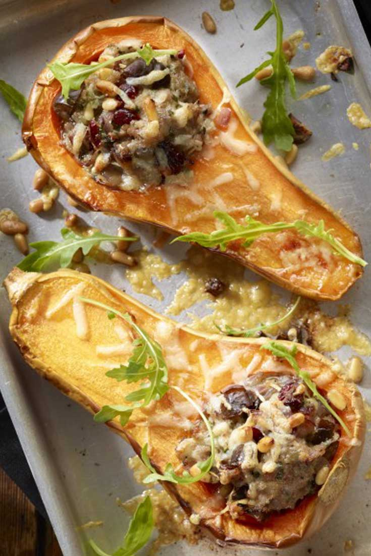 Roasted Butternut Squash With Sausage Stuffing