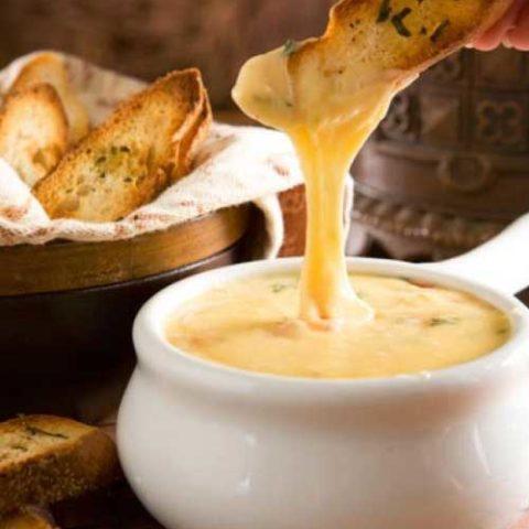 Gouda Cheese Fondue with Herbed Crostini